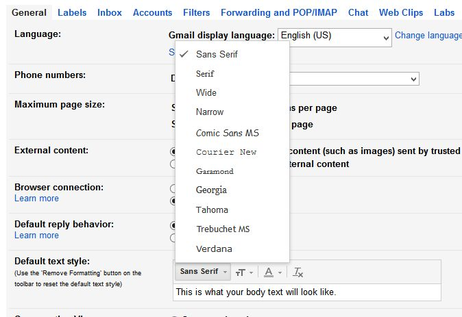 select your font in gmail default settings