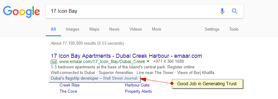 Emaar project targeted ads