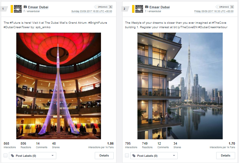 Top 2 posts on Facebook for Emaar