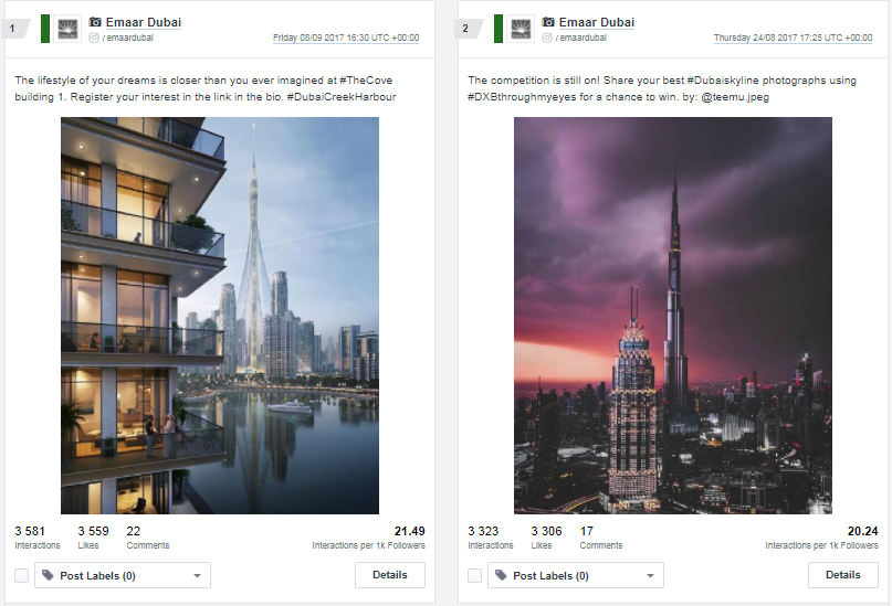Top 2 posts on instagram for Emaar